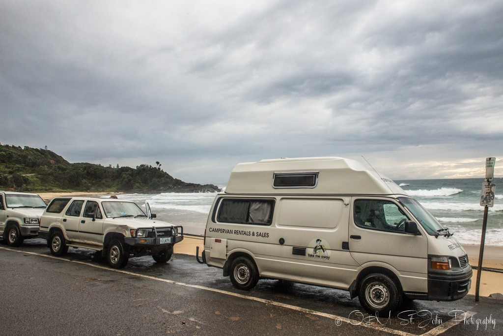 Campervans line Flynn's Beach in Port Macquarie, NSW