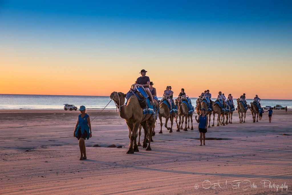 Australia travel tips: Budget for activities like enjoying a camel train on Cable Beach. Broome. Western Australia