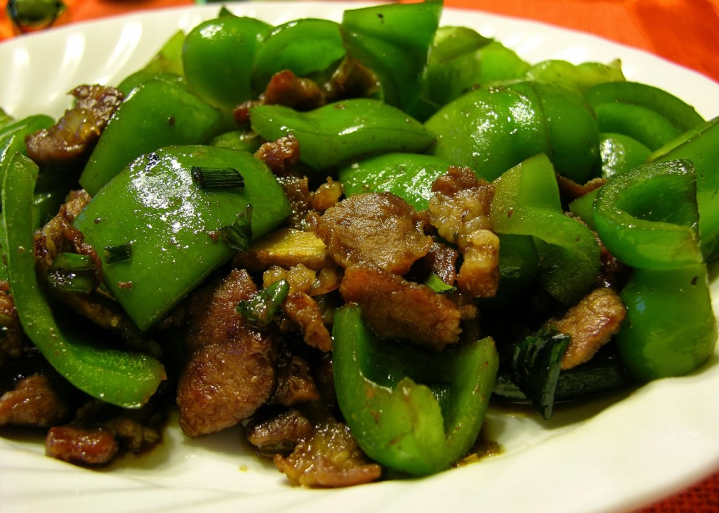 china food-Stir Fried Green Pepper with Pork Slices